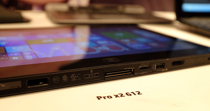 The tablet's ports are all found on the bottom edge. As you can see, the tablet itself is rather thick.