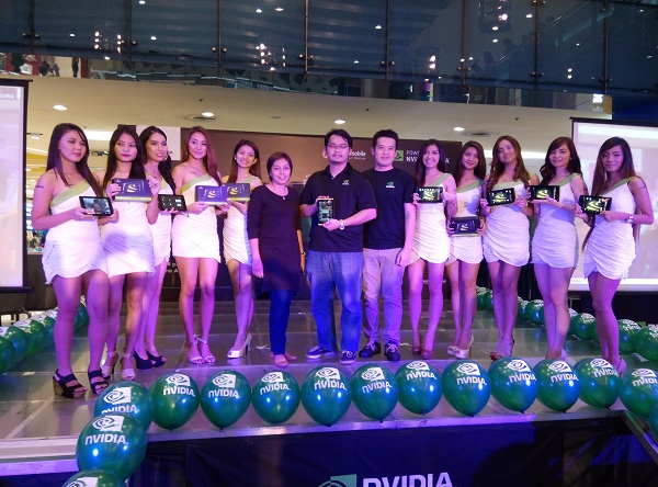 Representatives from NVIDIA and Cherry Mobile flanked by models at the launch held in SM City North EDSA last Saturday.