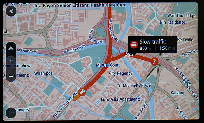 TomTom Traffic shows which roads or streets are experiencing slowdowns and can even tell you how bad the situation is and how long it will take you to clear it.