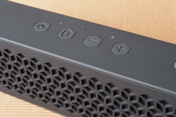 Power button, Bluetooth pairing button, and volume controls fill the top of the MuVo Mini.