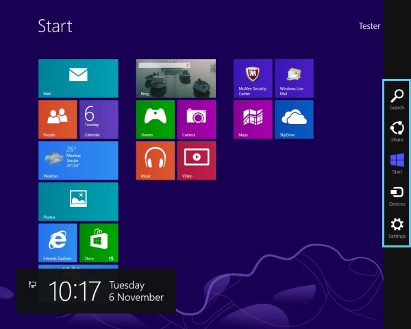 The charms menu may be going away in Windows 9