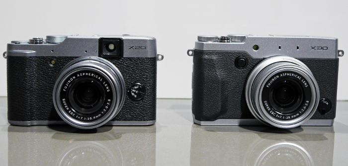 A larger battery, the EVF and tilting display has resulted in a larger camera when compared to the X-20 (left).