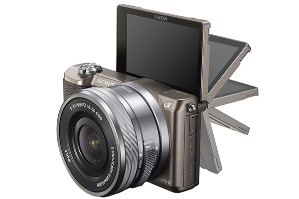 The Sony A5100's LCD screen can be flipped up for easier selfie taking.