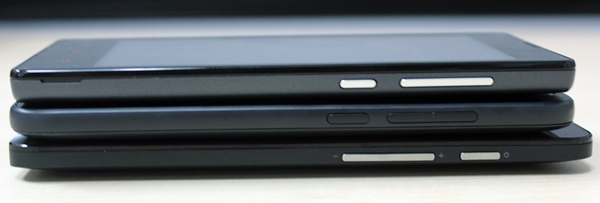 The right side profiles of the three phones. <br> Top to bottom: Xiaomi Redmi 1S, HTC Desire 616 and ASUS ZenFone 5.
