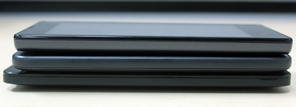 The left side profiles of the three phones. <br> Top to bottom: Xiaomi Redmi 1S, HTC Desire 616 and ASUS ZenFone 5.