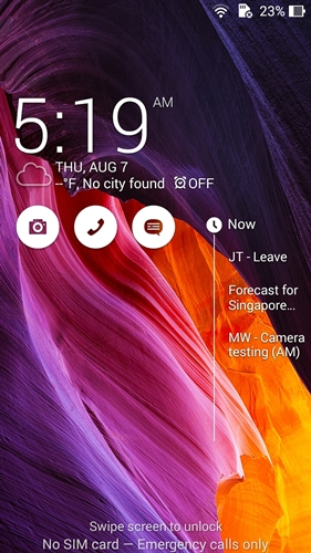 What's Next gives you a quick view of your schedule on the lock screen without unlocking the ASUS ZenFone 5.