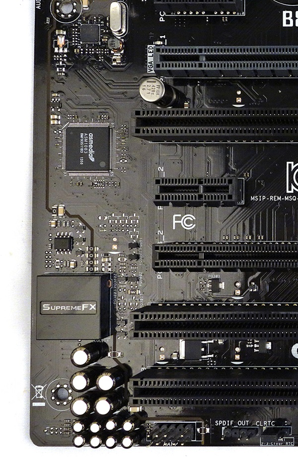 The SupremeFX onboard audio system of the B85-Pro Gamer board.