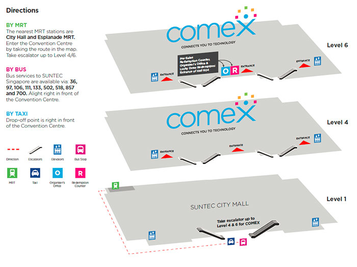 Taking the MRT train or the bus to Comex 2014? Here are some ways to get to Suntec.