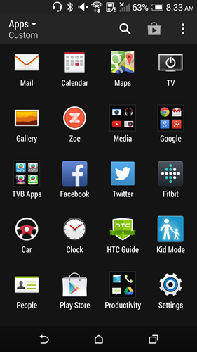 The interface navigation remains similar to other HTC handsets.