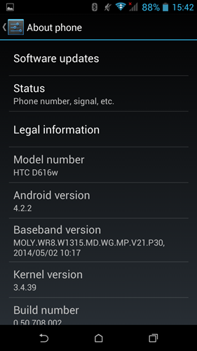 The HTC Desire 616 runs a special version of Sense interface with Android 4.2.2 Jelly Bean.