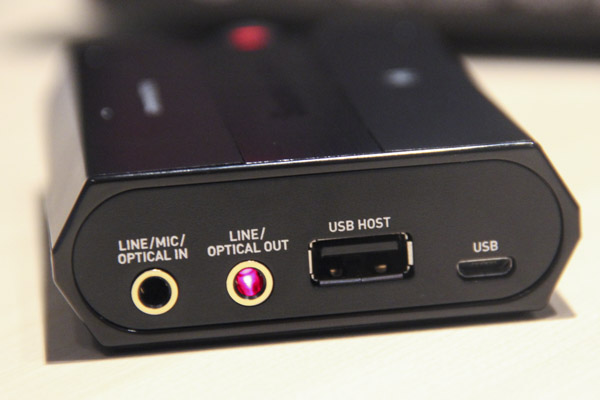 The selection of ports available on the Sound Blaster E5.