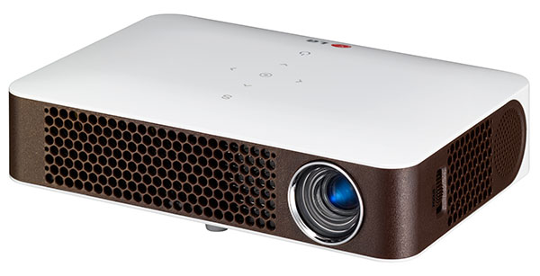 The LG PW700 WXGA compact projector has 700 ANSI lumens of brightness and a 100,000:1 contrast ratio.