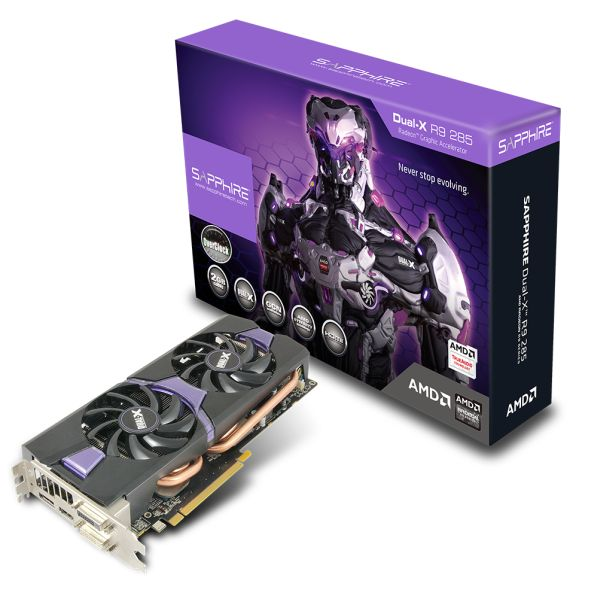 The Sapphire R9 285 Dual-X OC Edition is the souped up version of the Dual-X.