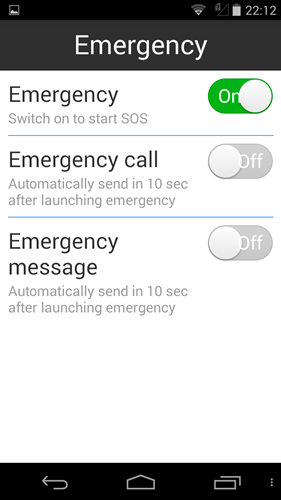 You can enable the Emergency feature and preset one contact number for the phone to automatically contact (call and text) when it is activated.