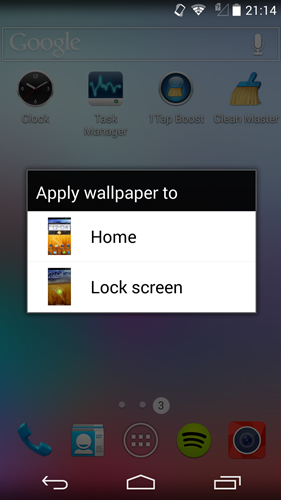 Press and hold on the home screen only allows you to change the wallpaper of the home page and lock screen.
