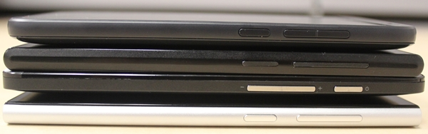 The right side view of the phones. <br>Top to bottom: HTC Desire 610, ZTE Blade VEC 4G, ASUS ZenFone 5 and Xiaomi Mi 3.