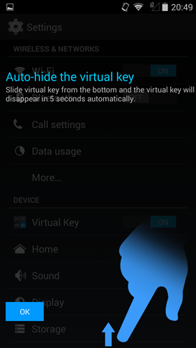 You can auto-hide the on-screen keys via Settings > Virtual Key and toggle OFF.