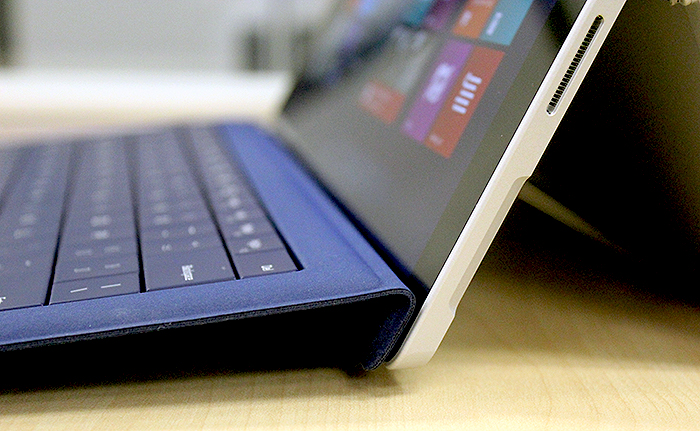 The little things count. This double-fold hinge allows the keyboard to attach to the bottom bezel of the Surface Pro 3, which elevates it for a more comfortable typing position.