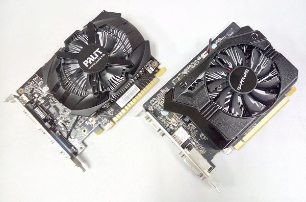 The Palit GeForce GT 740 OC Edition looks smaller than the Sapphire Radeon R7 250, due to the latter's cooler chassis.