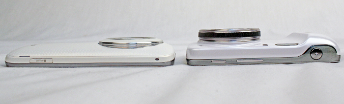 The Galaxy K Zoom (left) has a much slimmer profile compared to its predecessor, the S4 Zoom.