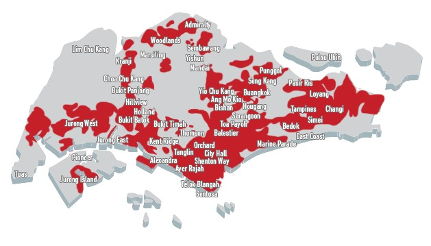 SingTel's 4G LTE-Advanced outdoor network coverage accurate as of 19 August 2014. Source: SingTel.