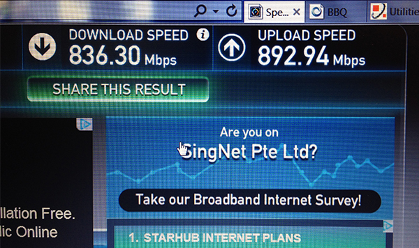 Singtel claims that local connection speeds will be in the region of 800Mbps 95% of the time.