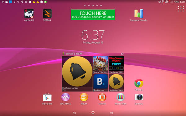 The Xperia Z2 Tablet uses a new Xperia KitKat UI.