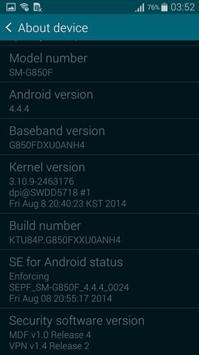 The Samsung Galaxy Alpha runs on Android 4.4.4 KitKat,