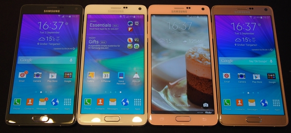 The Samsung Galaxy Note 4 is available in four colors at launch: charcoal black, frost white, bronze gold and blossom pink.