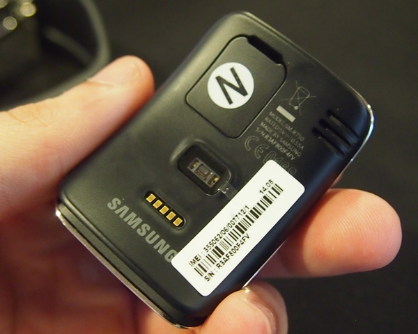 There is a nano-SIM card slot on the rear of the Samsung Gear S.