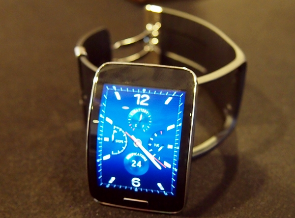 Tizen is making the jump to the big screen. Shown here is the Tizen-based Gear S smart watch.