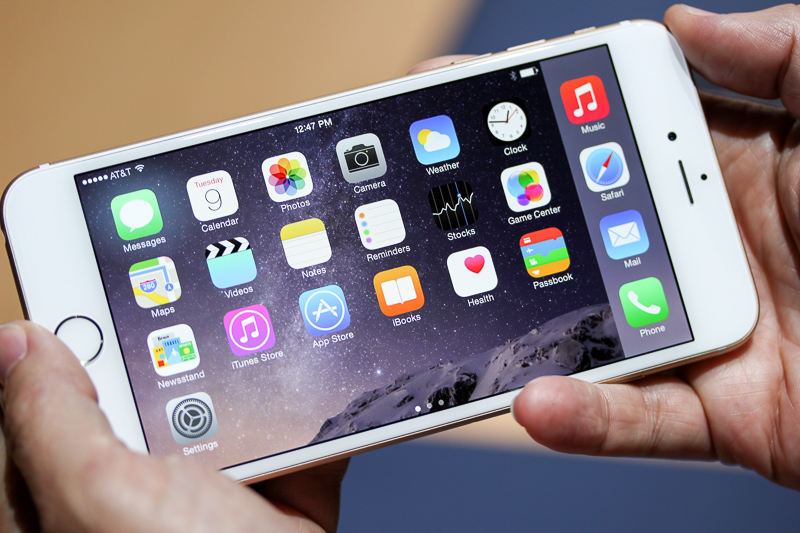 Seen here is the 5.5-inch Apple iPhone 6 Plus.