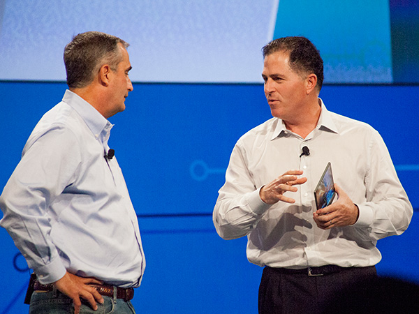 Michael Dell (right) and Brian Krzanich (left) unveiled an upcoming Dell tablet with first-of-its-kind photo capabilities at IDF this morning.