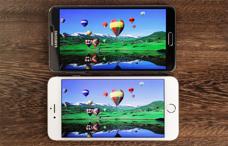 Samsung's GALAXY Note 3 (top) is more vivid and saturated, but the iPhone 6 Plus looks more natural.