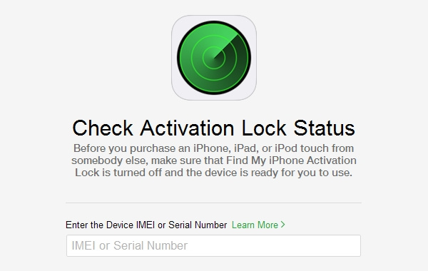 iCloud.com lets you check the Activation Lock status of any iPhone, iPad or iPod touch (running iOS 7 or later).