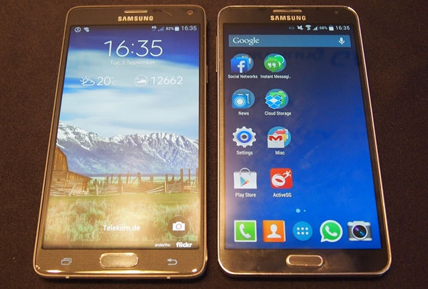 There is no change in the display size between the Samsung GALAXY Note 4 (left) and GALAXY Note 3 (right).