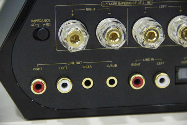 Gold-plated 2-way binding post terminal connectors support passive bookshelf/floor-standing speakers (via bare wires/banana plug connectivity). Note that you only have 4 or 8 ohm impedance options - so refer to your speaker manuals to choose appropriately.