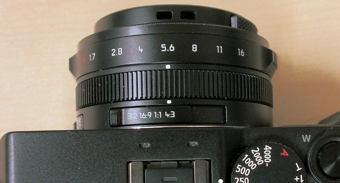 There's also a switch on the lens where you can set the aspect ratio of your still shots.