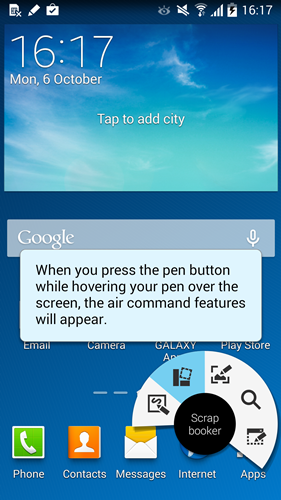 Air Command has five S Pen-related features on the Samsung Galaxy Note 3.