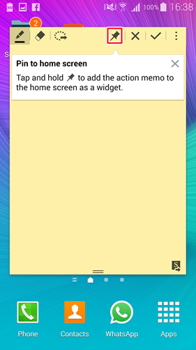 There is now an option for you to pin the Action Memo on the home screen.