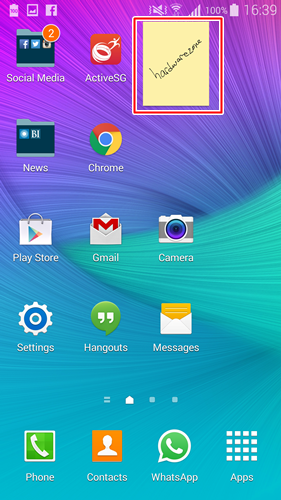 This is how the Action Memo widget looks like on the home screen of the Samsung Galaxy Note 4.