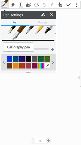For a more authentic pen writing experience, Samsung included two more brush effect options on the Galaxy Note 4. They are the fountain and calligraphy pen.