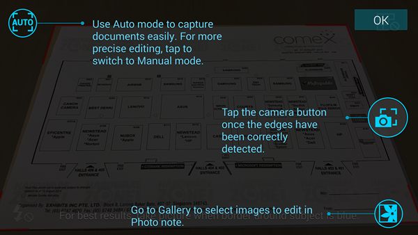 When you start up the Photo Note on the Samsung Galaxy Note 4, it offers some tips on how to use the feature.