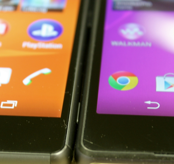 The bezel on the Sony Xperia Z3 (left) is slightly thinner than the Xperia Z2 (right).