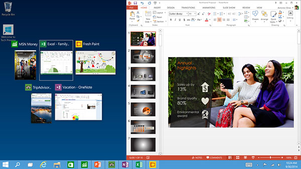 When you snap an app or a program, Windows will suggest ways to fill the remaining space. (Image source: Microsoft.)