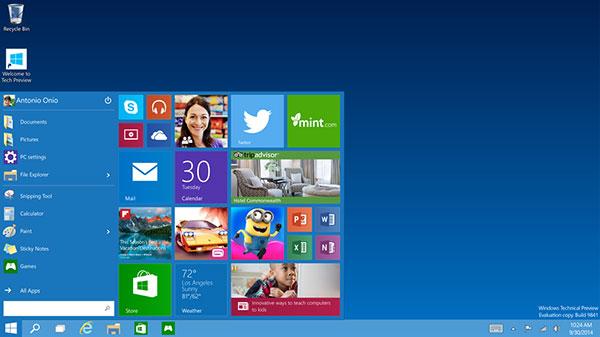 The Start menu returns! (Image source: Microsoft.)