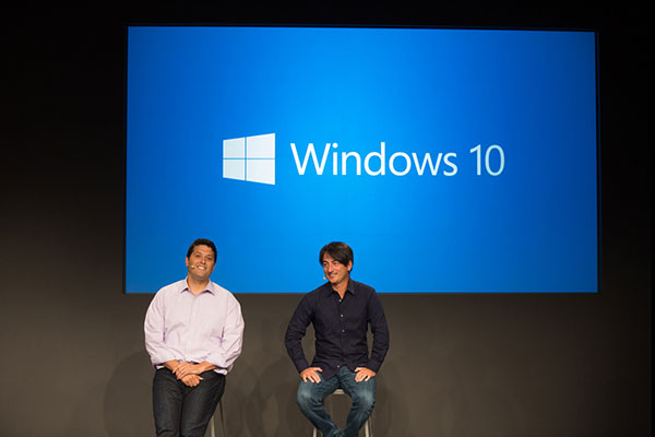 Microsoft's Terry Myerson & Joe Belfiore introduced Windows 10 at a media event today. (Image source: Microsoft).