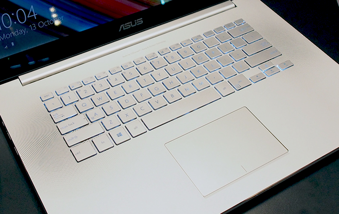 The keyboard is well-sized and nice to type. Note also the speaker grilles, which have been incorporated into the spaces between the keys.