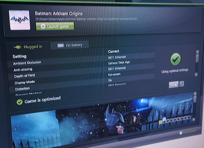 Using GeForce Experience, almost every aspect of game play is managed from a per-game perspective. Here you can clearly see two tabs for settings – Plugged in and On battery.