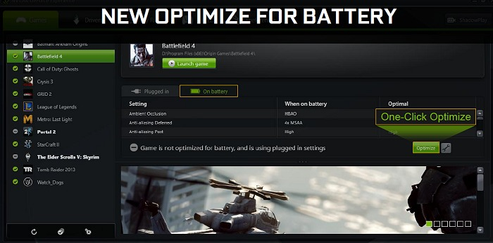If you've not optimized your game yet based on GFE's recommendation, you'll see the Optimize button as shown in this slide – applicable for both Plugged in and On battery modes.